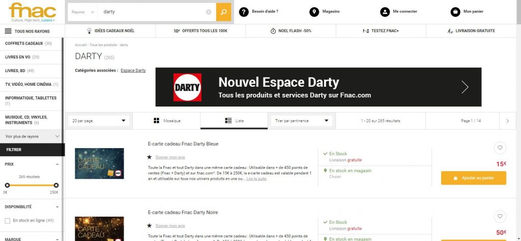Les produits darty sur le site Fnac.com